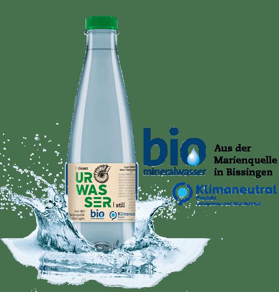 rieser urwasser bio mineralwasser flasche splash 2020